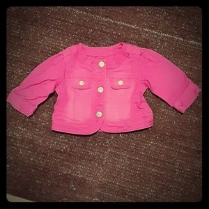 Hot pink baby jean jacket